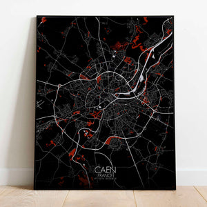 Mapospheres Caen Red dark full page design poster city map