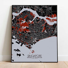 Load image into Gallery viewer, Mapospheres Siingapore Red dark full page design poster city map