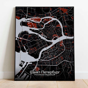 Mapospheres Saint Petersburg Red dark full page design poster city map