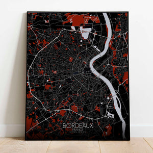 Mapospheres Bordeaux Red dark full page design poster city map