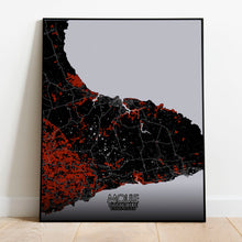 Load image into Gallery viewer, Mapospheres Moule Red dark full page design poster city map