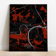 Load image into Gallery viewer, Mapospheres Namur Red dark full page design poster city map