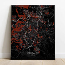 Load image into Gallery viewer, Mapospheres Jerusalem Red dark full page design poster city map