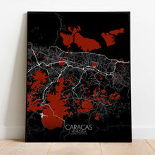 Load image into Gallery viewer, Mapospheres Caracas Red dark full page design poster city map