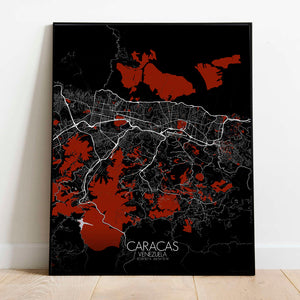 Mapospheres Caracas Red dark full page design poster city map