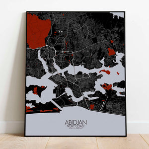 Mapospheres Abidjan Red dark full page design poster city map