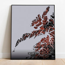 Load image into Gallery viewer, Mapospheres Lofoten Red dark full page design poster city map