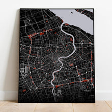 Load image into Gallery viewer, Mapospheres Shanghai Red dark full page design poster city map