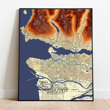 Load image into Gallery viewer, Mapospheres Vancouver full page design poster elevation map
