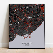 Load image into Gallery viewer, Mapospheres Toronto Red dark full page design poster city map