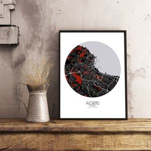 Mapospheres Algiers Red dark round shape design canvas city map
