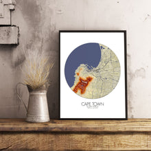 Load image into Gallery viewer, Mapospheres Cape Town Elevation map round shape design poster city map