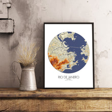 Load image into Gallery viewer, Mapospheres Rio de Janeiro Elevation map round shape design poster city map