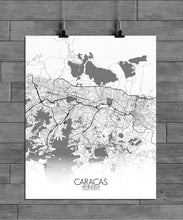 Load image into Gallery viewer, Mapospheres Caracas Black and White full page design poster city map