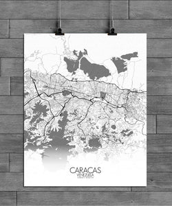 Mapospheres Caracas Black and White full page design poster city map