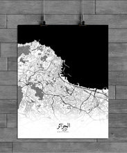 Load image into Gallery viewer, Mapospheres Algiers Black and White full page design canvas city map