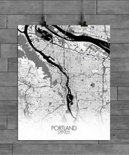 Load image into Gallery viewer, Mapospheres Portland Black and White full page design poster city map