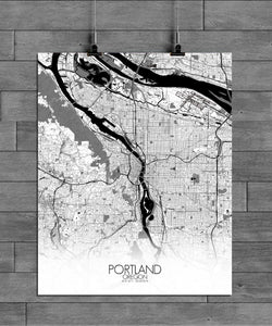 Mapospheres Portland Black and White full page design poster city map