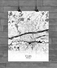Load image into Gallery viewer, Mapospheres Tours Black and White full page design poster city map