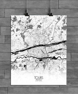 Mapospheres Tours Black and White full page design poster city map