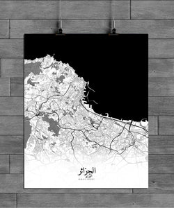 Mapospheres Algiers Black and White full page design canvas city map
