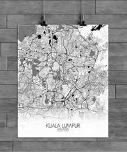 Load image into Gallery viewer, Mapospheres Kuala Lumpur KL Black and White full page design poster city map