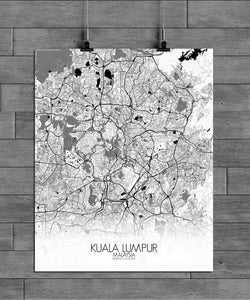 Mapospheres Kuala Lumpur KL Black and White full page design poster city map