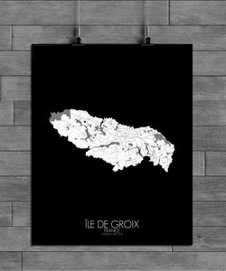 Mapospheres Groix Black and White full page design poster city map