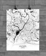 Load image into Gallery viewer, Mapospheres angers Black and White full page design poster city map
