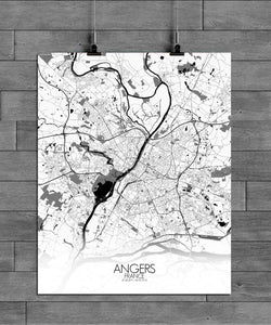 Mapospheres angers Black and White full page design poster city map