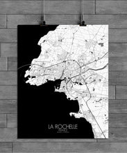 Load image into Gallery viewer, Mapospheres La Rochelle Black and White full page design poster city map
