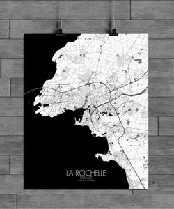 Mapospheres La Rochelle Black and White full page design poster city map