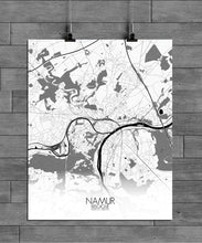 Load image into Gallery viewer, Mapospheres Namur Black and White full page design poster city map