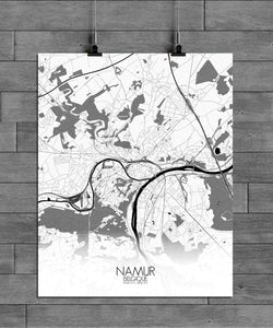 Mapospheres Namur Black and White full page design poster city map