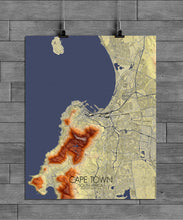 Load image into Gallery viewer, Mapospheres Cape Town Elevation map full page design poster city map