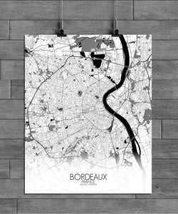 Mapospheres Bordeaux Black and White full page design poster city map