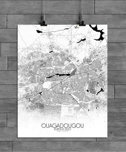 Mapospheres Ouagadougou Black and White full page design poster city map