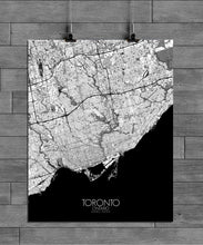 Load image into Gallery viewer, Mapospheres Toronto Black and White full page design poster city map