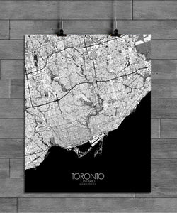 Mapospheres Toronto Black and White full page design poster city map