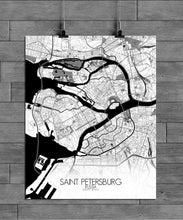 Load image into Gallery viewer, Mapospheres Saint Petersburg Black and White full page design poster city map