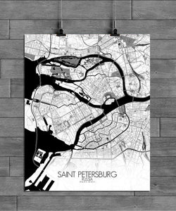 Mapospheres Saint Petersburg Black and White full page design poster city map