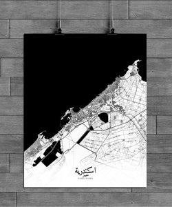 Mapospheres Alexandria Black and White full page design poster city map