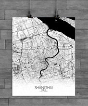 Load image into Gallery viewer, Mapospheres Shanghai Black and White full page design poster city map