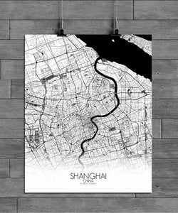 Mapospheres Shanghai Black and White full page design poster city map