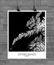Load image into Gallery viewer, Mapospheres Lofoten Black and White full page design poster city map