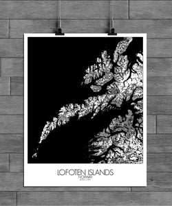 Mapospheres Lofoten Black and White full page design poster city map