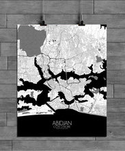 Load image into Gallery viewer, Mapospheres Abidjan Black and White full page design poster city map
