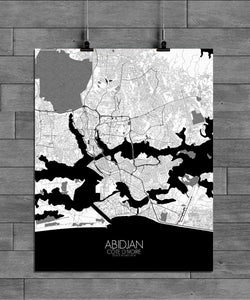 Mapospheres Abidjan Black and White full page design poster city map