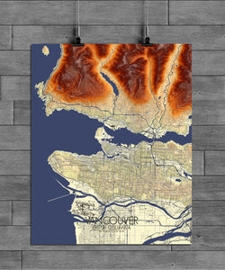 Mapospheres Vancouver full page design poster elevation map