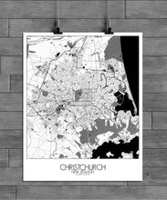 Load image into Gallery viewer, Mapospheres Christchurch Black and White full page design poster city map